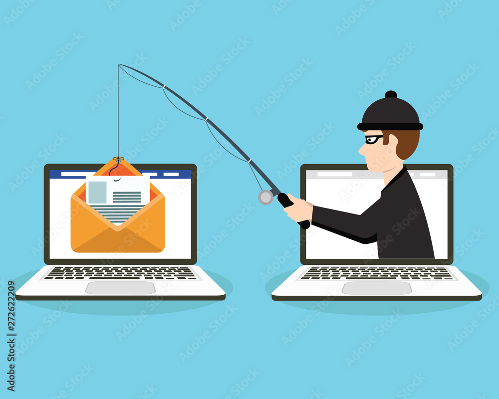 Fototapeta Login into account in email envelope and fishing hook. Phishing scam, hacker attack and web security concept. online scam and steal. vector illustration in flat design