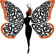 Fictional Lady Butterfly Silhouette
