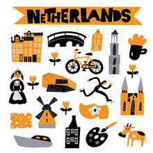 Vector Flat Illustration Of Different Netherlands Attractions, Landmarks And Symbols