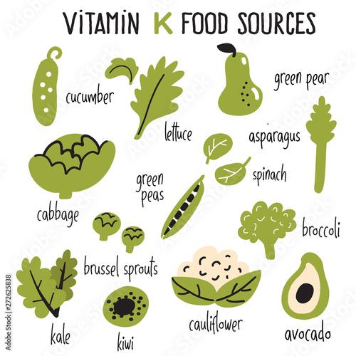 Flat vector illustration of Vitamin K rich foods Poster Mural XXL