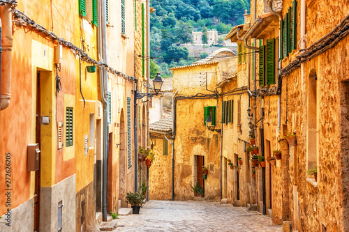 Tela Street of Valldemossa old mediterranean village, landmark of Majorca, Spain isla
