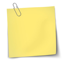 Vector Paper Mockup Of Yellow Note Attached By Metallic Paper Clip Placed On Transparent Background.