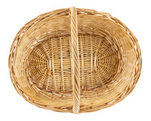 Empty Wicker Picnic Basket. Isolated On White.