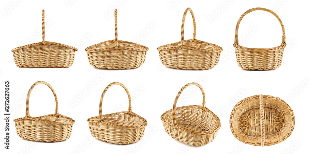 Fototapety, obrazy: Set of wicker picnic baskets shot from different angles.