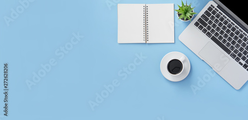 Business concept, relaxation in working time, drinking coffee taking a break on clean light blue office table, copy space, flat lay, top view, mockup - 272628206