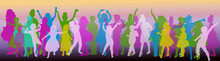 Dancing Child Color Silhouettes Group