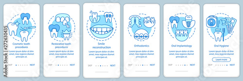 Canvas Dental clinic services onboarding mobile app page screen with linear concepts
