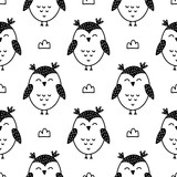 Owls seamless pattern in nordic style. Hand drawn vector illustration. - 272630637