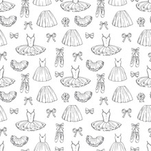 Hand Sketched Vector Ballet Dresses And Shoes Seamless Pattern. Ballet Dress And Tutu, Skirt Classic Illustration