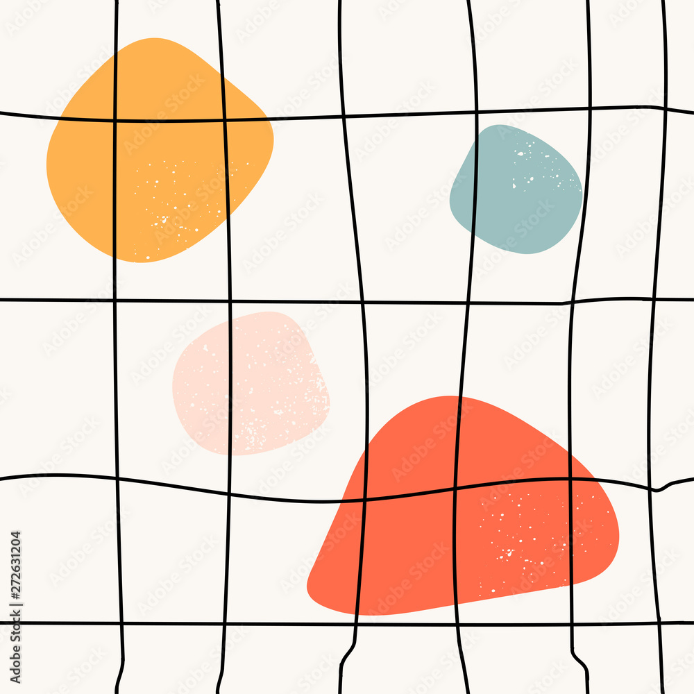Hand drawn various shapes and grid. Abstract contemporary seamless pattern. Modern trendy vector illustration. Stamp texture. Perfect for textile print