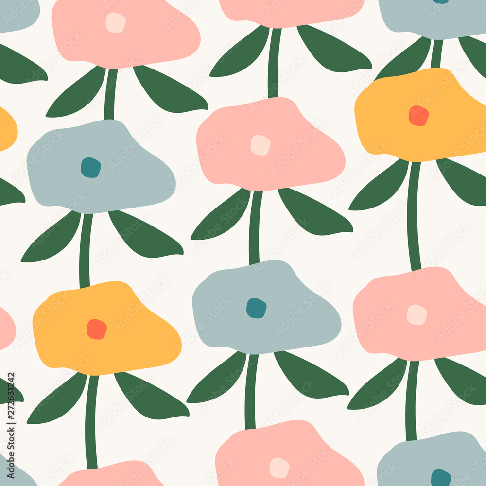 Hand drawn abstract flowers. Contemporary modern trendy vector illustration. Flat design. Colorful seamless pattern