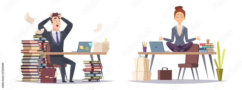 Fototapeta Deadline panicked businessman and organized business woman. Two type of businesspeople vector concept. Illustration of business worker stress panicking and relaxation yoga