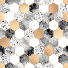 FototapetaSeamless abstract geometric pattern with gold foil, gray marble and watercolor hexagons