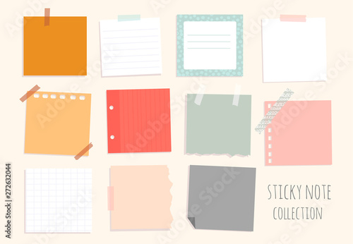 Cuadros en Lienzo Set of hand drawn various sticky notes