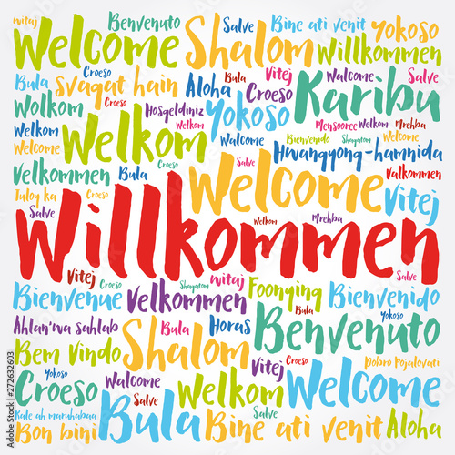 Valokuva  Willkommen (Welcome in German) word cloud in different languages, conceptual bac