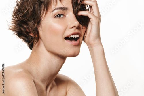 Carta da parati Beauty portrait of an attractive young shirtless brunette girl
