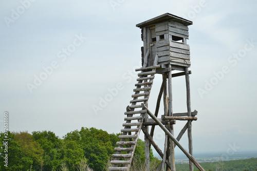 mirador, tour de guet en bois pour chasseurs, structure en bois, Alsace, France Fototapeta