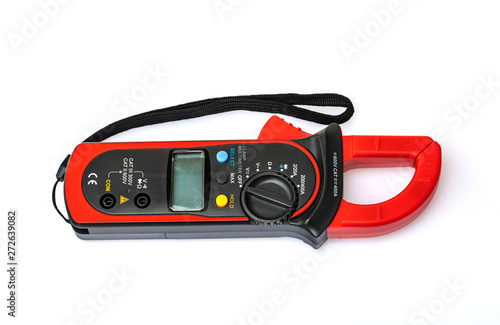 Photo Digital multimeter for repairs electrical appliances isolated on white background
