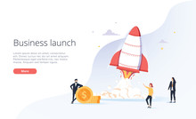 Business People Launche Rocket...