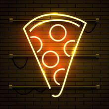 Neon Pizza Sign On Dark Brick Wall Background. Glowing Fastfood Advertising. Night Club Invitation.