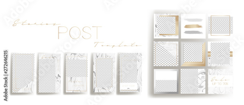 Obraz  Design backgrounds for social media banner.Set of instagram stories and post frame templates.Vector cover. Mockup for personal blog or shop.Layout for promotion.Endless square puzzle. - fototapety do salonu