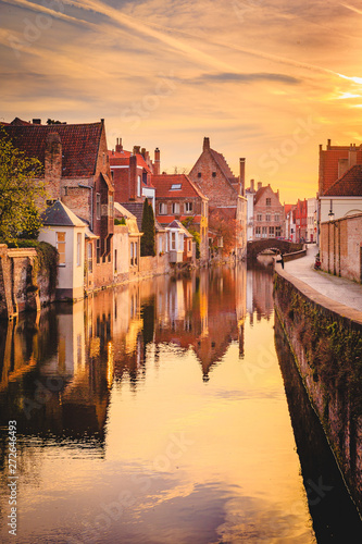 Historic city of Brugge at sunrise, Flanders, Belgium Wallpaper Mural