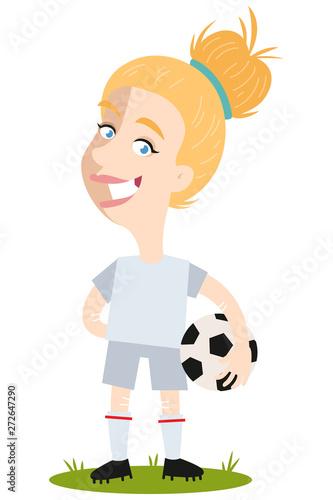 Fotografie, Obraz  Women's football, female football player for England standing on pitch cartoon