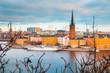 Leinwandbild Motiv Stockholm skyline at sunrise, Sweden, Scandinavia