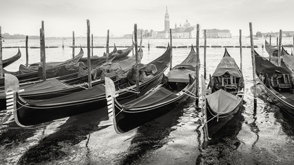 Fototapeta Wenecja gondolas of venice in black and white