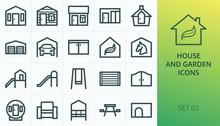 Garden Buildings Icons Set. Se...