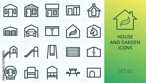Garden buildings icons set Fototapet