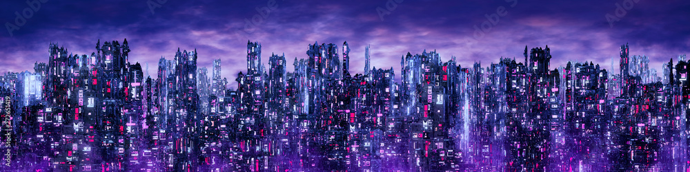 Fototapety, obrazy: Science fiction neon city night panorama / 3D illustration of dark futuristic sci-fi city lit with blight neon lights