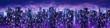 Science fiction neon city night panorama / 3D illustration of dark futuristic sci-fi city lit with blight neon lights