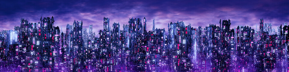 Science fiction neon city n...