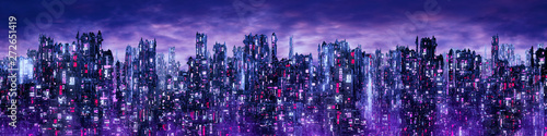 Science fiction neon city night panorama / 3D illustration of dark futuristic sci-fi city lit with blight neon lights - 272651419