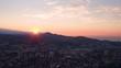 Dawn in Sochi. Black sea. Russia. Aerial video