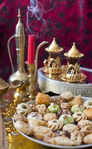 Oriental tea tray and cookies symbolising Moroccan