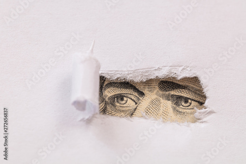 Fotomural Alexander Hamilton macro peeking through torn white paper
