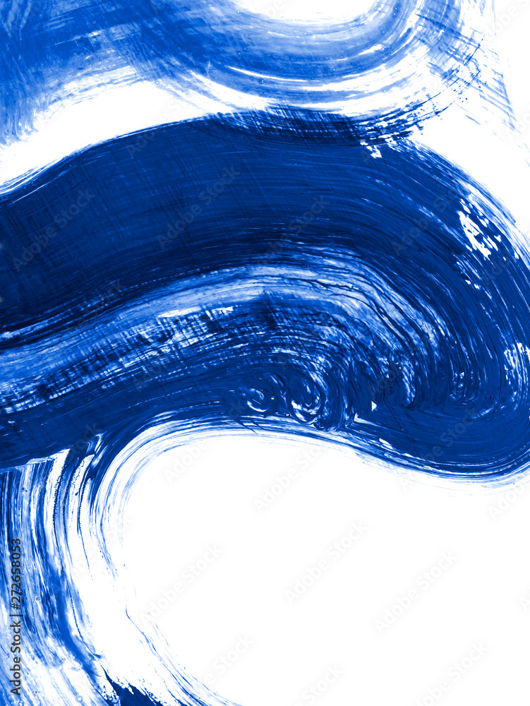 Blue creative abstract hand painted background, brush texture