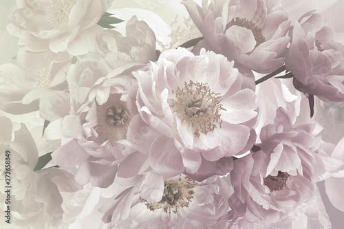 Vintage bouquet of beautiful garden flowers peonies Wallpaper Mural