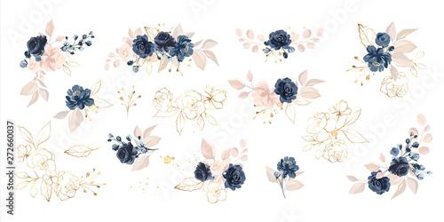 Pinturas sobre lienzo  Set of floral branch