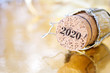 canvas print picture - champagne cork with numbers 2020 on a blurry Christmas background, happy new year concept