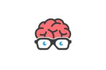 Creative Brain Geek Glasses Logo Vector Design Illustration