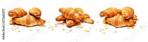 Leinwand Poster Französische Croissants isoliert auf Weißem Hintergrund