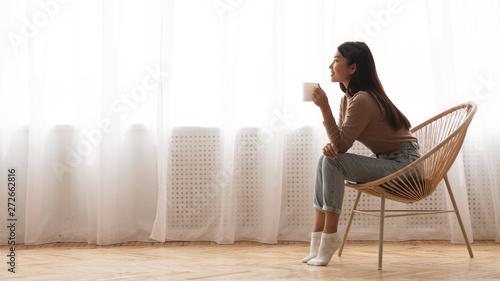 Photo  Girl Enjoying Morning Coffee, Sitting In Armchair