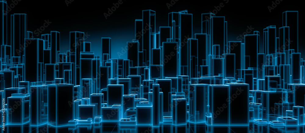 Fototapeta Abstract futuristic blocks city with wire frame in blue shade on mirror floor. Digital future architecture technology background concept. 3D render.