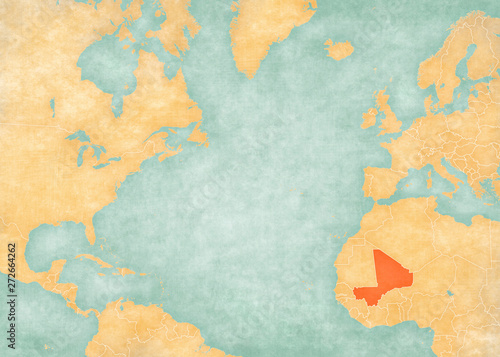 Photo  Map of North Atlantic Ocean - Mali