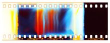 Film Strip Template, Empty Color 135 Type (35mm) Film With Scratches, Cracks, Dust And Light Leaks Isolated On White Background With Work Path.