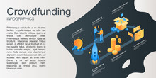 Crowdfunding Idea Concept Banner. Isometric Illustration Of Crowdfunding Idea Vector Concept Banner For Web Design