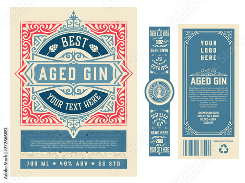 Vintage label with gin liquor design Canvas